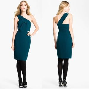 Tory Burch Ashlee Teal Crepe One Shoulder Dress